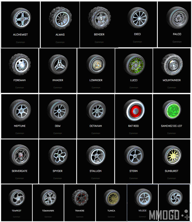 26 Common wheels in current version of Rocket League for all platforms.