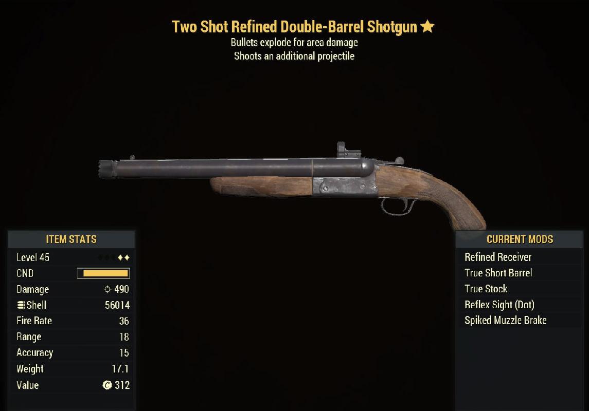 Two Shot Refined Double-Barrel Shotgun - Level 45