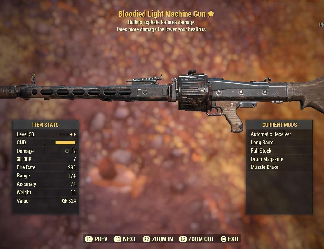 Bloodied Light Machine Gun - Level 50