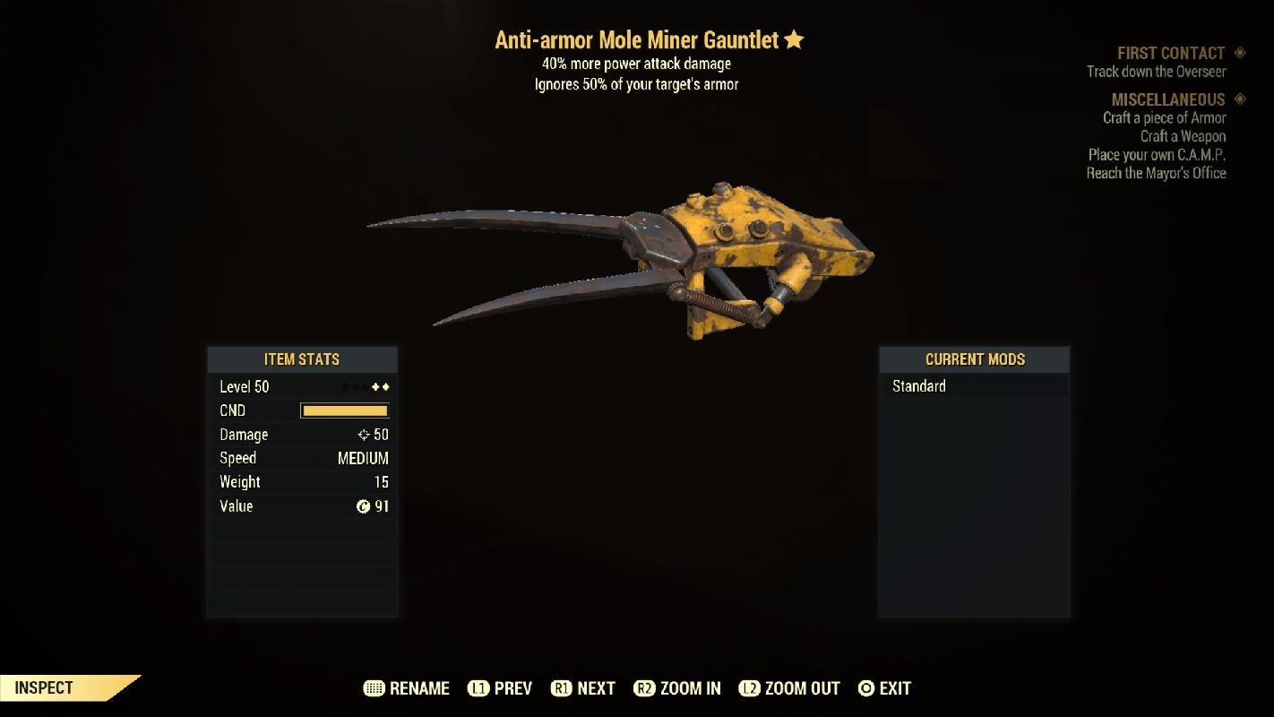 Anti-armor Mole Miner Gauntlet - Level 50