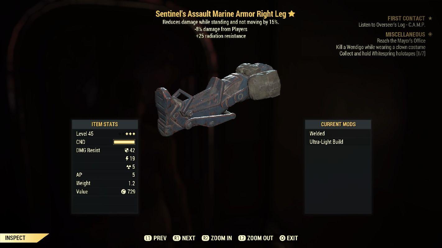 Sentinel'sAssaultMarineArmorRightLeg-Level45(-8%damageFormPlayers)
