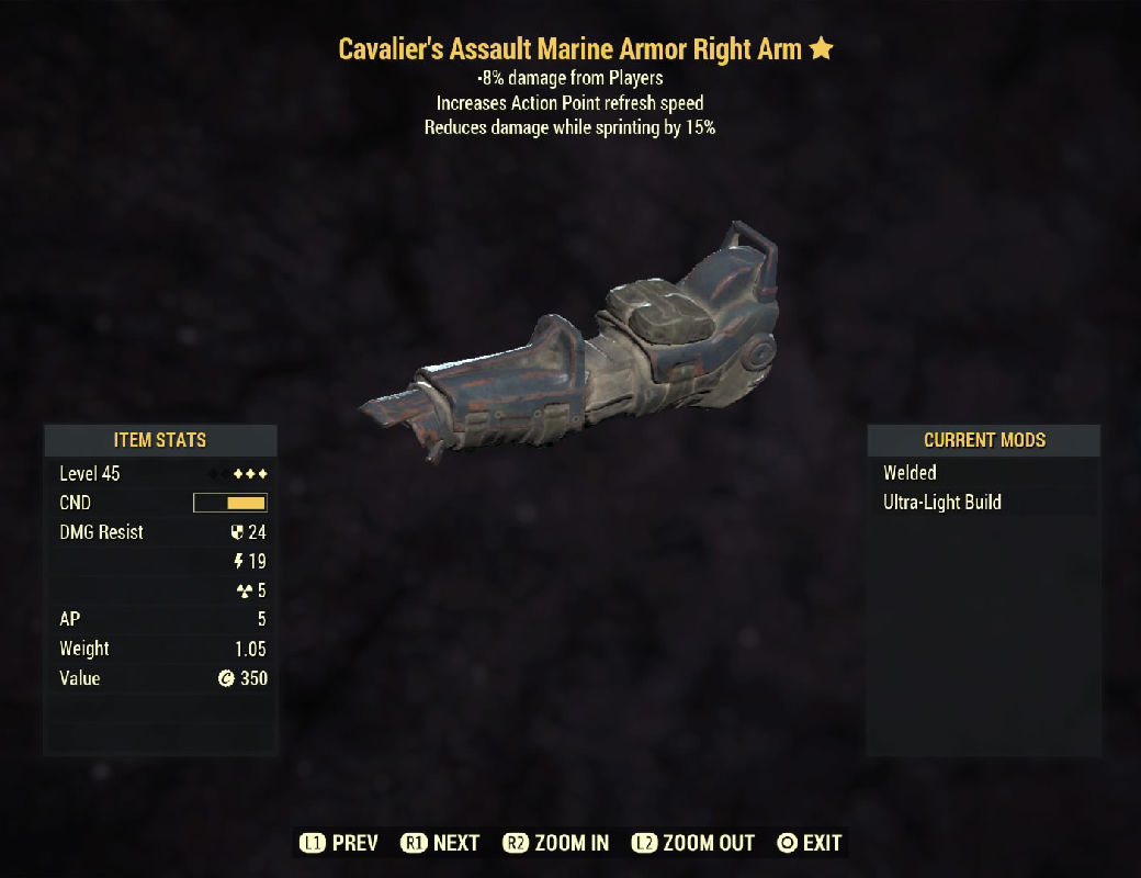 Cavalier's Assault Marine Armor Right Arm- Level 45 (-8% damage Form Players)